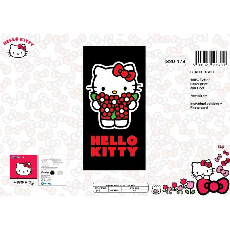 grossiste serviette de plage ou drap de bain hello kitty en 300 gsm 820 178. Black Bedroom Furniture Sets. Home Design Ideas