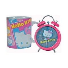 Hello Kitty Juego de reloj despertador con reloj de 12 cm Hello Kitty + 1 Taza de cerámica Hello Kitty Hello Kitty