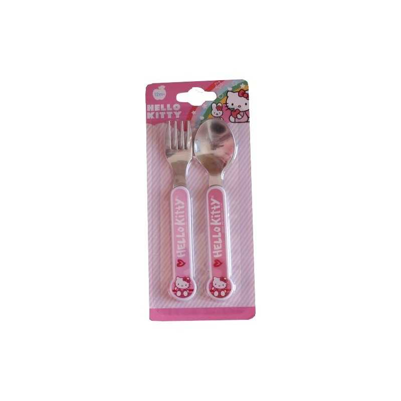 Hello Kitty cutlery set with spoon and fork.