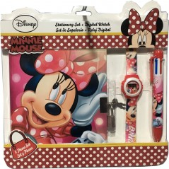 Minnie Note Bloc de notas + reloj + pluma 6 colores