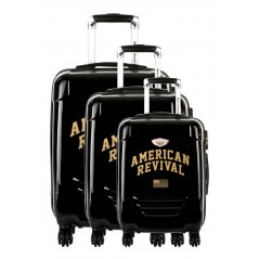 American Revival - Set of 3 Suitcases ABS & Polycarbonate 4 Wheels