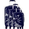 American Revival - Set of 3 Hard Cases ABS & Polycarbonate 4 Wheels - In Blue
