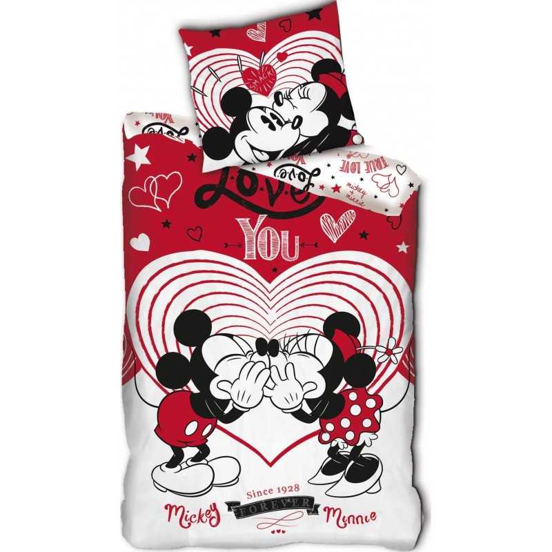 Mickey and Minnie love in red bedding set